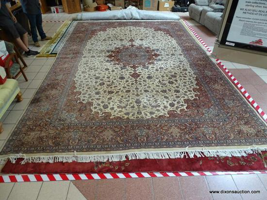 ESTATE OWNED HANDMADE FINELY WOVEN PALACE SIZE AREA RUG IN IVORY, BLUE, AND BROWN WITH LARGE FLORAL