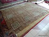 VINTAGE HOOK RUG WITH SOME DAMAGE. MEASURES APPROXIMATELY 8 FT 8 IN X 11 FT 3 IN. ITEM IS SOLD AS IS
