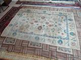 HAND KNOTTED TIBETAN WEAVE VEGETABLE DYE. IS A GENUINE HANDMADE RUG FROM THE AUBUSSON COLLECTION. IN