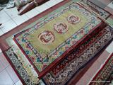 HANDMADE SCULPTED CHINESE RUG WITH DRAGON MEDALLIONS IN MAUVE, GREEN, AND BLUE. MEASURES