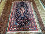 HANDMADE TURKOMAN IN PINK, IVORY, AND BLUE. MEASURES 3 FT 9 IN X 6 FT 9 IN. ITEM IS SOLD AS IS WHERE