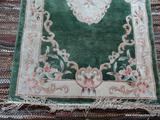 HANDMADE SILK CHINESE SCULPTED RUG IN GREEN, IVORY, AND MAUVE. MEASURES APPROXIMATELY 3 FT X 5 FT 4