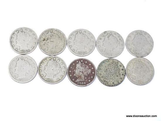 Nickel - Liberty (V) Bag of 10 coins - various dates.