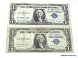 1953 Currency - 2 One Dollar Bills - Silver Certificates
