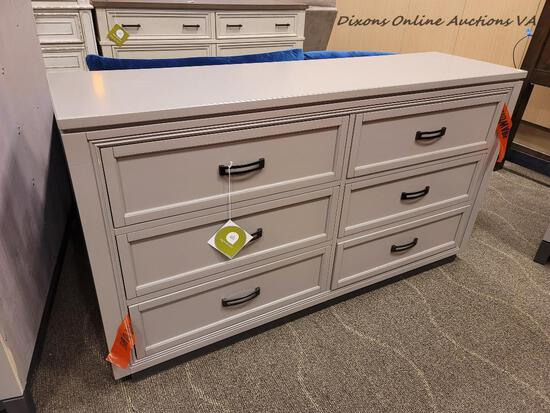 (R1) I32-453 ASPEN HOME FURNITURE HYDE PARK GRAY DRESSER. THE HYDE PARK - GRAY COLLECTION PRESENTS