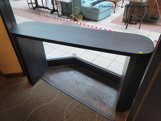 (R3) MODERN GRAY FINISH OBLONG DESK. MEASURES 60 IN X 16 IN X 33 IN. ITEM IS SOLD AS IS WHERE IS