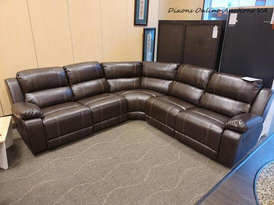 (R1) CHARLESTOWN MANUAL RECLINING SECTIONAL. ESPRESSO IN COLOR. RETAILS FOR $2,500 ONLINE! MEASURES