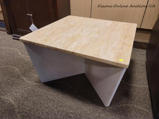 (R1) FAUX MARBLE TOP SQUARE END TABLE. MEASURES 28 IN X 28 IN X 17 IN. ITEM IS SOLD AS IS WHERE IS