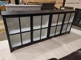 (R5) CAMILA SIDEBOARD IN BLACK FINISH. A DISTRESSED BLACK IRON FRAME CONTRASTS A CLEAN WHITE