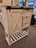 (R3) A-AMERICA SUN VALLEY BARN DOOR CHEST WITH A WHITE FINISH. #SUVWT5630. THE SUN VALLEY WHITE