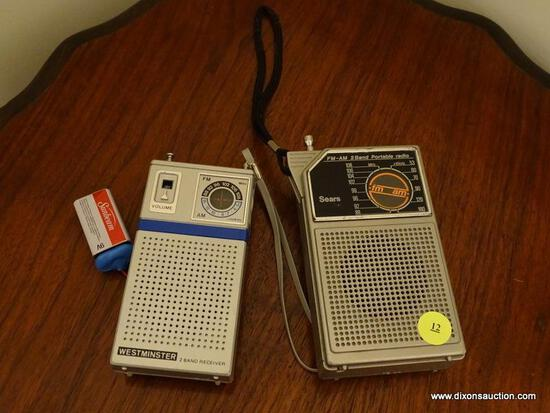 (DR) 2 VINTAGE TRANSISTOR RADIOS, ITEM IS SOLD AS IS WHERE IS WITH NO GUARANTEES OR WARRANTY. NO