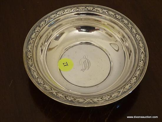 (DR) WALLACE STERLING ENGRAVED BOWL- 6 IN DIA., ITEM IS SOLD AS IS WHERE IS WITH NO GUARANTEES OR