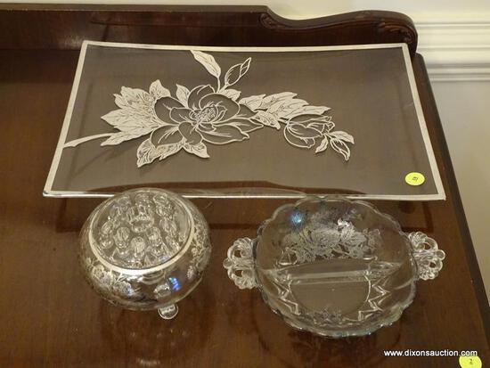 (DR) 3 PCS. OF STERLING OVERLAY DISHES- TRAY- 16 IN L, DIVIDED DISH AND VASE WITH FROG, ITEM IS SOLD