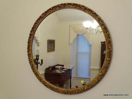 (DR) VINTAGE GOLD GILT GESSO MIRROR- 26 IN DIA., ITEM IS SOLD AS IS WHERE IS WITH NO GUARANTEES OR