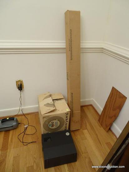 (DR) SAWYER'S SLIDE PROJECTOR IN BOX AND FOLDING PROJECTOR SCREEN, ITEM IS SOLD AS IS WHERE IS WITH
