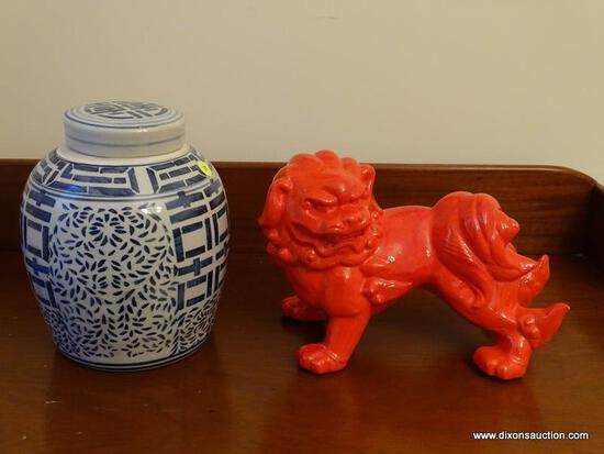 (DR) BLUE AND WHITE ORIENTAL GINGER JAR WITH LID- 10 IN H AND ORANGE CERAMIC FOO DOG - 12 IN X 10