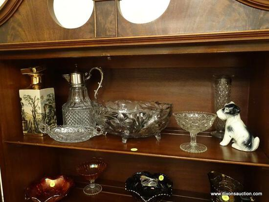 (DR) SHELF LOT OF GLASS- LARGE PRESSED GLASS FRUIT COMPOTE, WATER PITCHER WITH SILVERPLATE TOP, BUD
