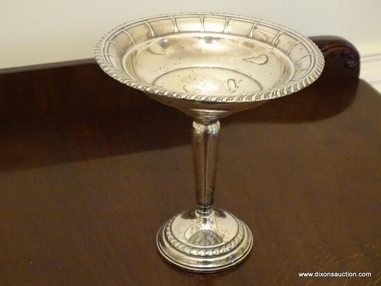 (DR) COLUMBIA STERLING COMPOTE- 7.5 IN H, ITEM IS SOLD AS IS WHERE IS WITH NO GUARANTEES OR