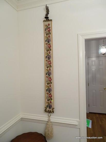 (DR) NEEDLEPOINT BELL PULL- 72 IN L, ITEM IS SOLD AS IS WHERE IS WITH NO GUARANTEES OR WARRANTY. NO