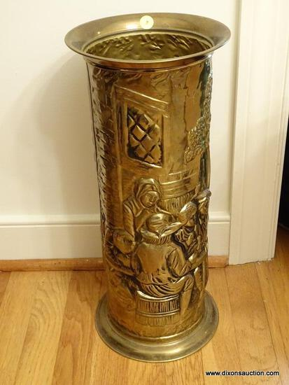 (DR) STAMPED EMBOSSED BRASS UMBRELLA STAND- 19 IN H, ITEM IS SOLD AS IS WHERE IS WITH NO GUARANTEES
