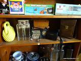 (BD2) SHELF LOT- VINTAGE POCKETBOOK, LIQUOR BOTTLES IN CARRYING CASE, GE TRANSISTOR RADIO IN LEATHER