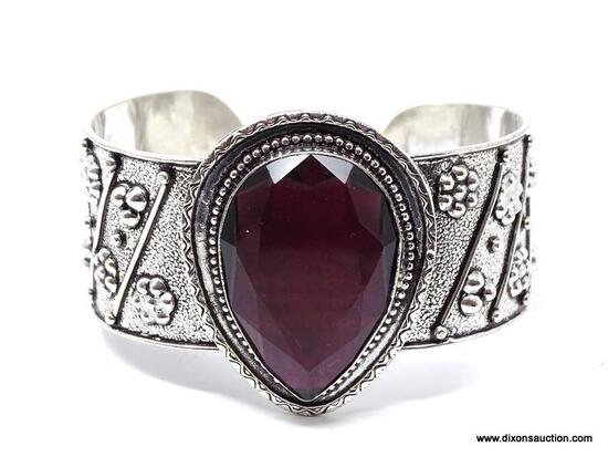 .925 RHODIUM AAA LARGE, GORGEOUS CUFF BRACELET; DETAILED FACETED AFRICAN DARK AMETHYST; MEDIUM TO