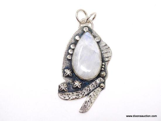 """.925 2 1/2"""" AWESOME AAA DESIGN LARGER HANDMADE MOONSTONE PENDANT - NEW! SRP $125.00"""