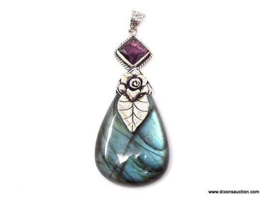 """.925 3"""" AAA TOP BLUE FIRE LARGE LABRADORITE; WITH AMETHYST ACCENT PENDANT - NEW! SRP $90.00"""