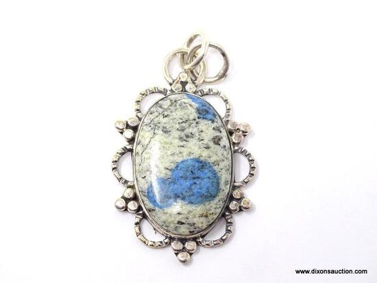 """.925 2 1/4"""" AAA AWESOME DETAILED LARGE K2 BLUE JASPER PENDANT - NEW! SRP $75.00"""