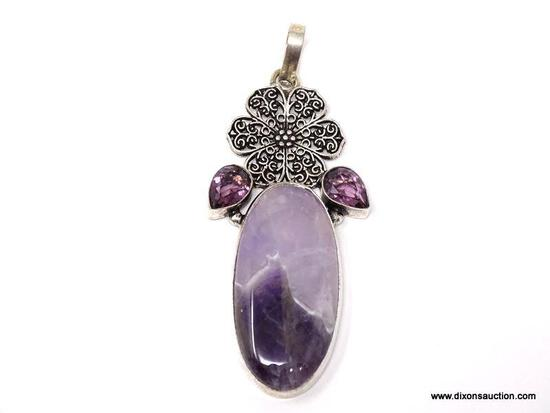 """.925 GORGEOUS 3"""" AWESOME CHEVRON AMETHYST WITH FACETED AMETHYST ACCENT PENDANT - NEW! SRP $79.00"""