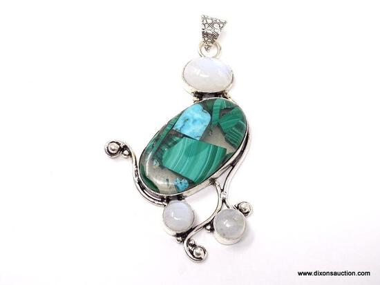 """.925 3"""" AWESOME BLUE GREEN COPPER TURQUOISE WITH MOONSTONE ACCENT PENDANT - NEW! SRP $59.00"""