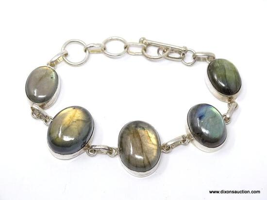 """.925 OVERLAY 9"""" AAA 5 OVAL BLUE FRIE GEMSTONE BRACELET; TOGGLE CLASP - NEW! SRP $59.00"""