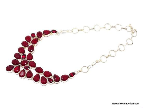 """.925 RHODIUM 18"""" CHOKER STYLE FACETED LARGE RED GARNET NECKLACE; TOGGLE CLASP - NEW! SRP $125.00"""