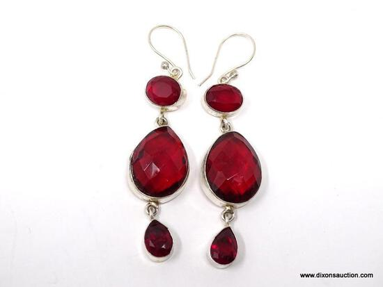 """.925 RHODIUM 18"""" GORGEOUS FACETED RED GARNET DROP EARRINGS; .925 WIRES - NEW! SRP $39.00"""