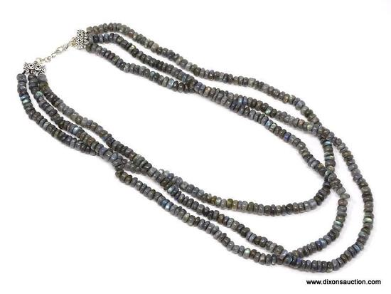 """18"""" - 20""""; AAA QUALITY 465.00 CTS; 3 STRAND BLUE FLASH LABRADORITE; BEAD NECKLACE; LOBSTER CLASP -"""