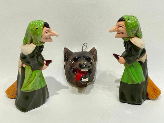 (10J) VINTAGE CERAMIC WITCH SALT AND PEPPER CHAKER SET (7-INCH) AND CHALKWARE WOLF WEREWOLF WALL