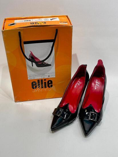 (10J) NEW ELLIE WITCHY VAMPIRE VAMPIRESS HIGH HEEL SHOES COSTUME BLACK SIZE 6