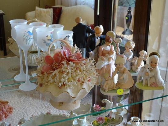 (FR) PARTIAL SHELF LOT OF ASSORTED FIGURINES TO INCLUDE: (3) TIERED BIRD DECORATED VOTIVE HOLDERS, A