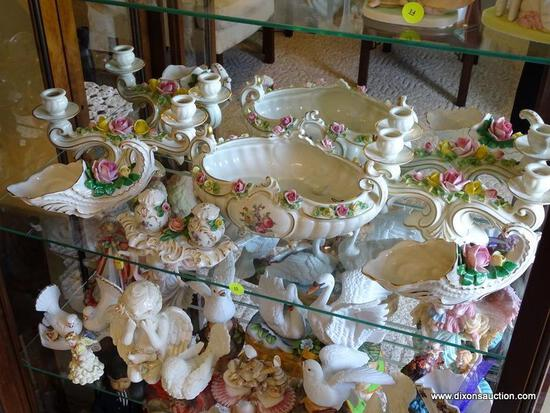 (FR) SHELF LOT OF DRESDEN DECOR ACCENTS TO INCLUDE: SALT/PEPPER SHAKERS WITH TRAY, (2) CORNUCOPIAS,