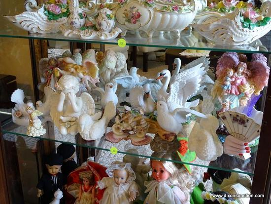 (FR) SHELF LOT OF ASSORTED FIGURINES TO INCLUDE: SHELL ART, SEVERAL BIRD FIGURINES, ANGELS, ETC.