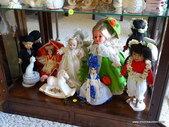 (FR) SHELF LOT TO INCLUDE: PORCELAIN ROCKING HORSE, (6) MISC. DOLLS, (1) MADE IN HOLLAND DOLL,
