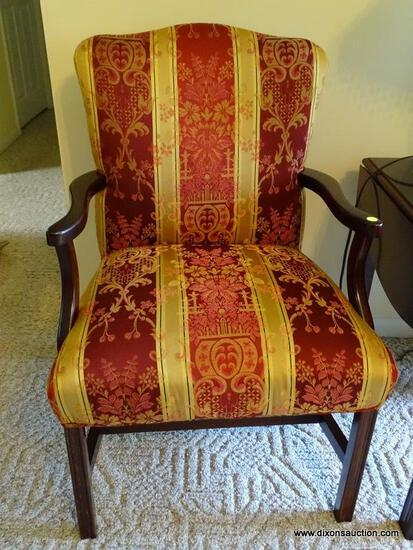 """(FR) UPHOLSTERED ARM CHAIR WITH TONES OF RED, GOLD & CREAM COLORS. MEASURES APPROX. 23"""" X 21"""" X 36"""""""