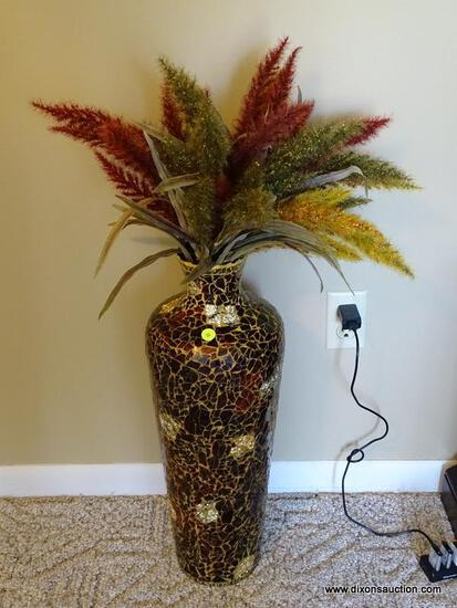 """(FR) TALL DECORATIVE MOSAIC VASE WITH WHEAT-LIKE FLORAL ARRANGEMENT. MEASURES APPROX. 23"""" TALL."""