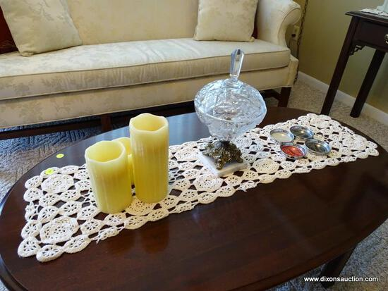 (FR) LOT OF MISC. TO INCLUDE: SET OF (4) HAWKS NEST STATE PARK COASTERS, (1) MARBLE BASED GLASS &