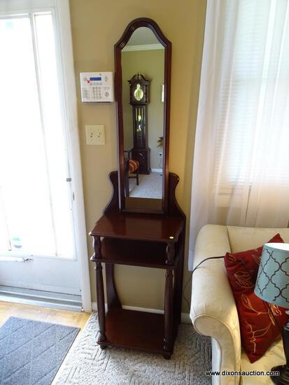"""(FR) WOODEN MIRRORED HALL TABLE WITH CENTER SHELF & LOWER PLATFORM. MEASURES APPROX. 19"""" X 12"""" X"""