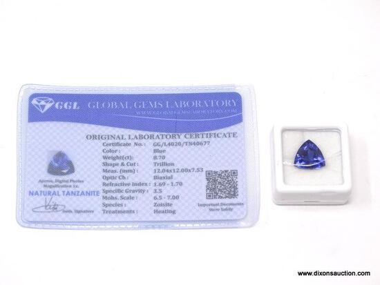 8.70 CT TRILLION CUT TANZANITE 12 X 12 X 7. IS GGL CERTIFIED. ITEM IS SOLD AS IS WHERE IS WITH NO