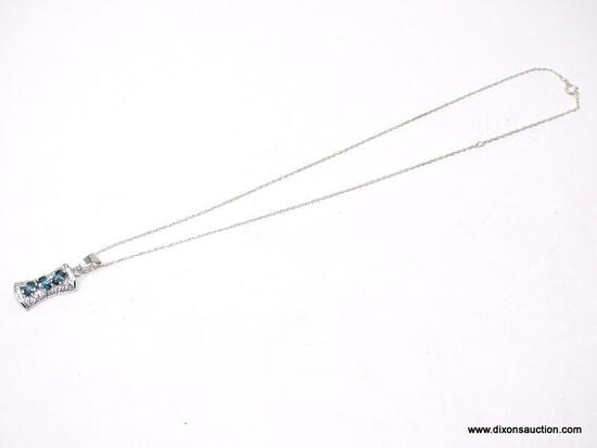 """.925 STERLING SILVER LADIES 1 CT BLUE TOPAZ PENDANT WITH 18"""" CHAIN. ITEM IS SOLD AS IS WHERE IS WITH"""