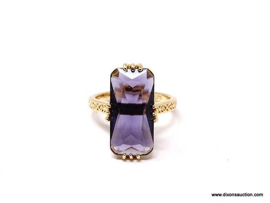 .925 STERLING SILVER LADIES 5 CT AMETHYST ART DECO RING. SIZE 8. ITEM IS SOLD AS IS WHERE IS WITH NO