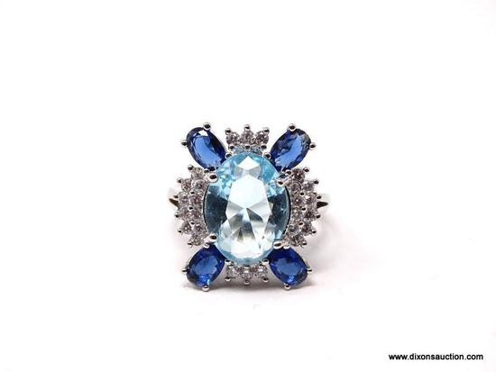 .925 STERLING SILVER LADIES 5 CT BLUE TOPAZ & SAPPHIRE RING. SIZE 8. ITEM IS SOLD AS IS WHERE IS