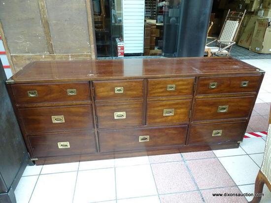 (R1) NATIONAL MT. AIRY LANCER II MAHOGANY 7 DRAWER AND 2 DOOR DRESSER WITH BRASS ACCENTS AND